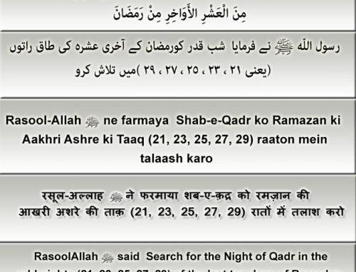 Hadith: Shab-e-Qadr ko Ramazan ki Aakhri Ashre ki Taaq (21, 23, 25, 27, 29) raaton mein talaash karo